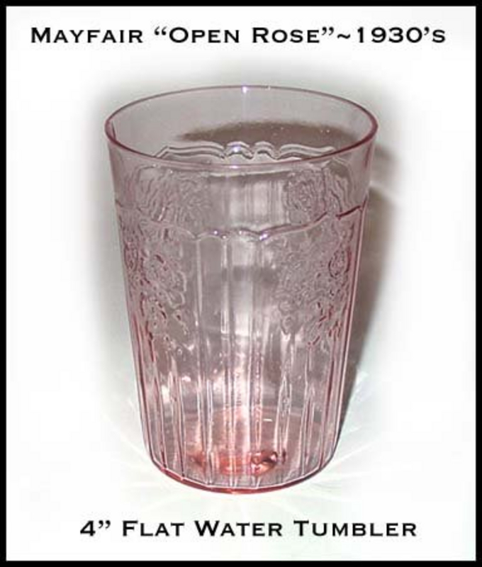 Hocking Glass Mayfair Open Rose 9 oz Flat Water Glass
