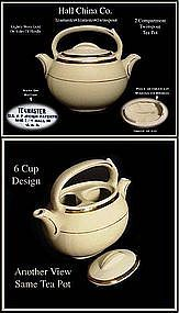 Hall China Teamaster 2 Compartment Twin Spout Tea Pot