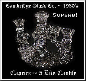 Cambridge Glass~Outstanding 5 Lite Cross Arm Candle 2pc