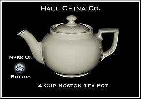 Hall China 4 Cup Boston Bakery White Tea Pot~Signed