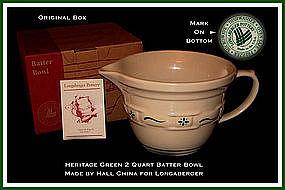 Longaberger Hall China Unused 2 Qt Batter Bowl Org Box