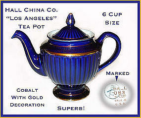 Hall China Cobalt Los Angeles 6 Cup Tea Pot W/Gold