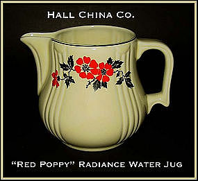 Hall China Red Poppy Radiance Handled Water Pitcher