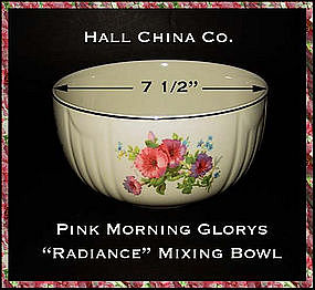 "Hall China Pink Morning Glory  7 1/2""  Mixing Bowl"