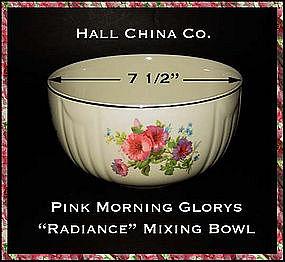 """Hall China Pink Morning Glory  7 1/2""""  Mixing Bowl"""