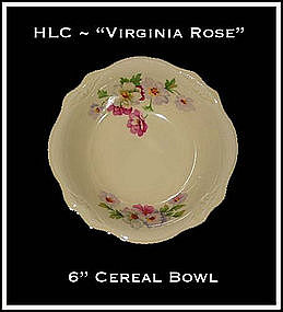 "HLC Virginia Rose 6"" Cereal Bowls Platinum Trim"