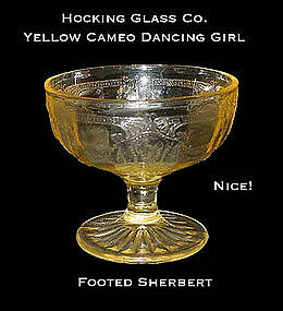 "Hocking Yellow Cameo ""Dancing Girl"" Footed Sherbert"