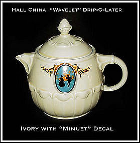 "Hall China Drip-O-Later Coffee Pot With ""Minuet"" Decal"