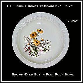 Hall China Sears Brown~Eyed Susan Flat Soup Bowl