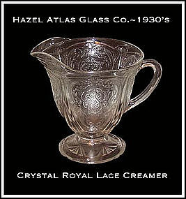 Hazel Atlas Royal Lace Crystal Footed Creamer