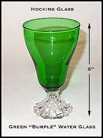 Hocking Glass Forest Green Burple Footed Water Glass