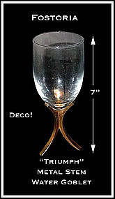 "Fostoria Glass ~ ""Triumph"" Deco Footed Water Goblet"