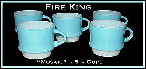 Fire King Blue Mosaic 5 Stacking Cups
