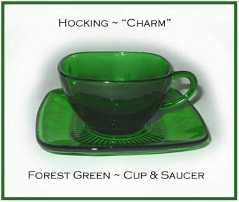 Hocking Fire King Forest Green Charm Cup and Saucer