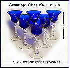 Cambridge ~ 6 ~ #3500 Cobalt Tall Wine Goblets