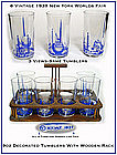Six ~ 9oz 1939 New York Worlds Fair Tumblers W/Rack