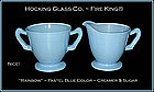 Hocking~1930s Pastel Rainbow Blue Creamer N' Sugar