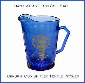 Hazel Atlas~Cobalt Shirley Temple Milk Pitcher 1940