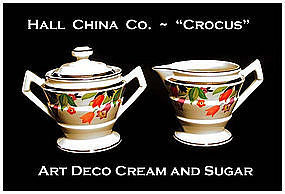 Hall China Art Deco Crocus Pattern Cream & Sugar