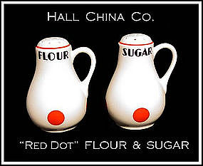 Hall China Red Dot Handled FLOUR & SUGAR Shakers