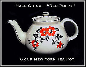Hall China Red Poppy Pattern 6 cup New York Tea Pot