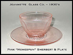 Jeannette Glass Homespun Sherbert & Plate 2 pc Set