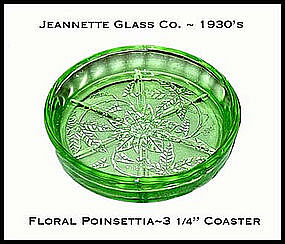 Jeannette~Floral Poinsettia Green Round Coaster