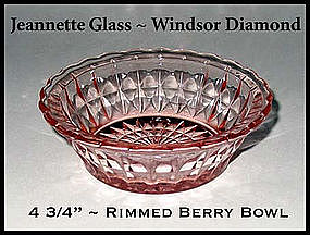 Jeannette Glass~Windsor Diamond~Pink Rimmed Berry Bowl