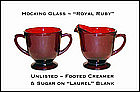 Hocking~Fire King~Royal Ruby~Unlisted Cream N Sugar Set