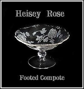 Heisey Rose Low Footed Compote Waverly Blank