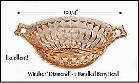 Windsor Diamond~Jeannette Glass~Lg Pink 2 Handled Bowl