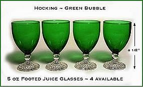 Fire King Forest Green Bubble 5 oz Footed Juice Glass