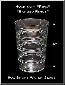Ring Crystal Short 9 oz Water Glass ~ Hocking