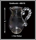 Candlewick 400/16 ~ 1 Pint Pitcher ~ Beaded Handle