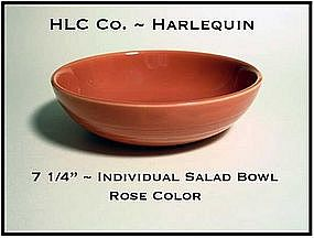 "HLC Harlequin Original 1930's Rose Indv 7"" Salad Bowl"