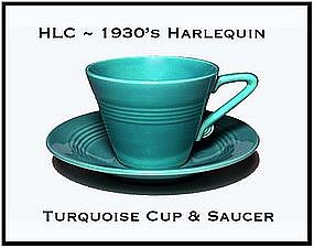 HLC Harlequin Original 1930's Turquoise Cup & Saucer