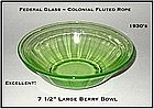 Federal Glass-Colonial Fluted Rope Large Berry Bowl