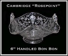 Cambridge Glass Rosepoint 2 Handled Flip Edge Bon Bon