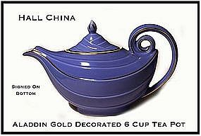 Hall China Cadet Blue GD 6 cup Aladdin Tea Pot