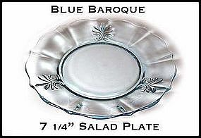 "Fostoria Blue Baroque 7 1/4"" Salad Plate~Excellent!"