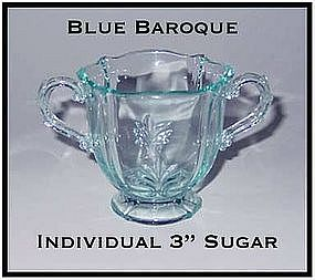 Fostoria Blue Baroque Footed Individual Sugar Bowl