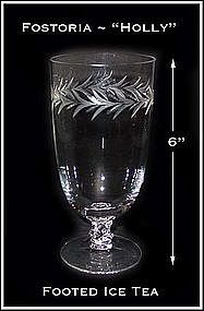 "Fostoria ""Holly"" 12 oz Footed Ice Tea Glass"