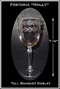 "Fostoria ""Holly"" Tall Stemmed 10oz Water Goblets"