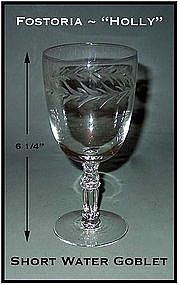 "Fostoria ""Holly"" Short 9 oz Water Goblet ~ 6 1/4"" Tall"