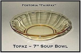 Fostoria Fairfax Topaz Yellow 7 inch Flat Soup Bowl