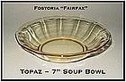 Fostoria Fairfax Topaz Yellow 7 inch Flat Soup Bowl