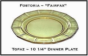 "Fostoria Fairfax Topaz Yellow 10 1/4"" Dinner Plate"