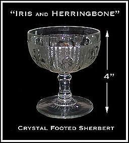 "Iris and Herringbone 4"" Footed Sherbert~Jeannette Glass"