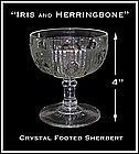 "Iris and Herringbone 4"" Footed Sherbert~Jeannette Glass"
