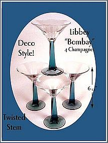"Libbey ""Bombay"" 4 ~ Blue Stem for Martini/Champagnes"